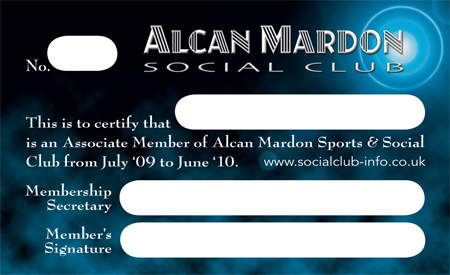 Examples of designs by Optical Design Alcan Mardon Social Club – Membership Card Samples