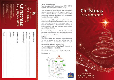 ... The leaflet includes the Christmas menu and a returnable booking form