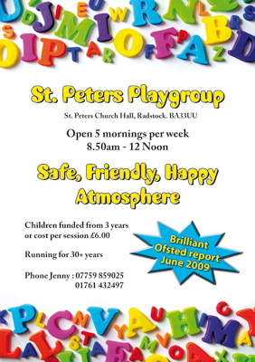 St Peters Playgroup : A single sided A5, printed full colour on 250gsm ...